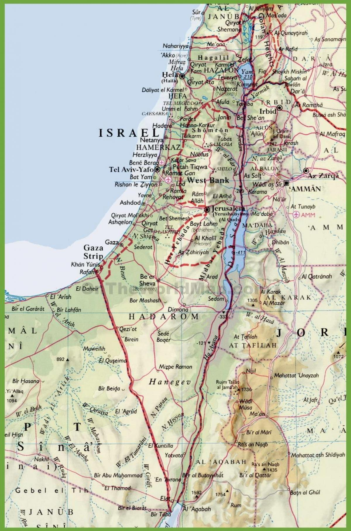Izrael Mapa Izrael Mapa Miasta Azja Zachodnia Azja